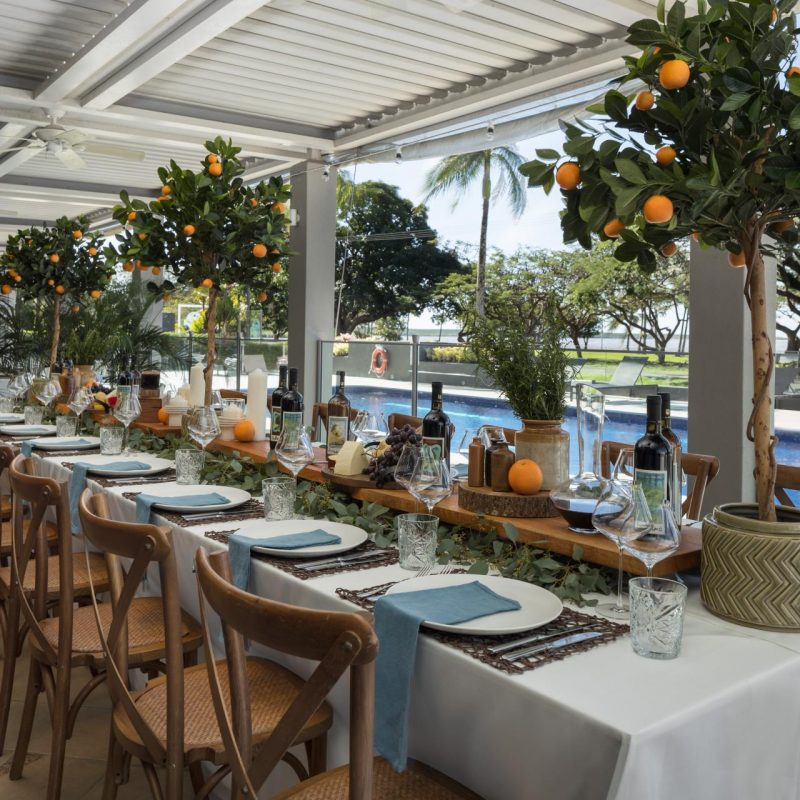 Olive Garden Table Set-Up at Holiday Inn Cairns Harbourside